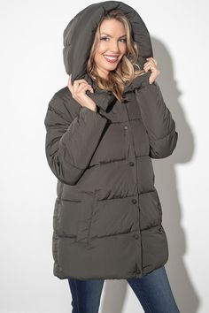 There is no longer a need to fear the cold once you've got your hands on this amazing Winter jacket! This padded jacket is filled with fiber down, making it warm and comfortable! It features a hidden zipper and a snap closure as well as two front pockets and a trendy large hood! We know you're going to love this one! Peak To Peak, Silver Icing, Online Collections, Padded Jacket, Fashion Company, Fashion Online, Fiber, Stylists, Winter Jackets