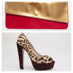 Sobre en tela de gamuza y solapa en charol bronce combinado con plataforma animal print rojo/dorado