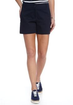 Crown  Ivy  Novel Navy Petite Solid Shorts