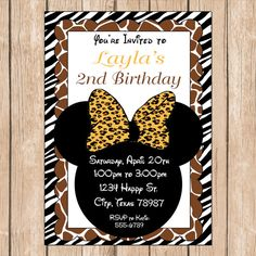 Safari Minnie Birthday Invitation Mouse by HeartfeltInvitations, $1.00