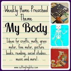Weekly Home Preschool Theme- My Body.  Ideas for one week of home preschool.  Crafts, science, math, gross motor, fine motor, music, and reading.