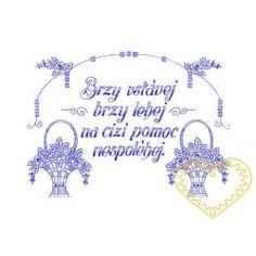 Nástěnná textilní kuchařka - Brzy vstávej European Countries, Embroidery Ideas, Czech Republic, Provence, Jewelry, Needlepoint, Jewlery, Jewerly, Schmuck