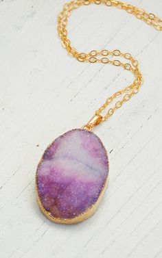 Lavender AGATE Druzy NECKLACE Beautiful Stone