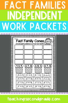 Working on teaching fact families in your second grade classroom? These independent work packets will be the perfect addition to your lesson plans! These fact family activities come in a set of 43 pages of worksheets that focus on addition and subtraction to help your students get lots of practice with this important math skill. #factfamilyworksheet #factfamilyprintables #mathactivities #mathworksheets #2ndgrademath Expanded Form Worksheets, Array Worksheets, Place Value Worksheets, Addition And Subtraction Worksheets, Money Worksheets, 2nd Grade Math, Second Grade, Family Activities, Math Activities