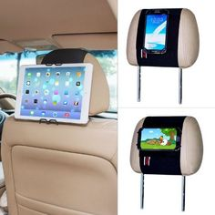 TFY Universal Smartphone & Tablet Pc Car Headrest Mount Holder - iPad Mini 4 & iPhone 4/5s & iPhone 6 / 6S (Plus) - Samsung Galaxy Cell Phone & Tab - Nexus 5 / 7 / 10 - HTC Desire / Butterfly / One (Max & Mini) an