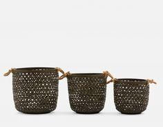 TALARA - Set of 3 Baskets - Black