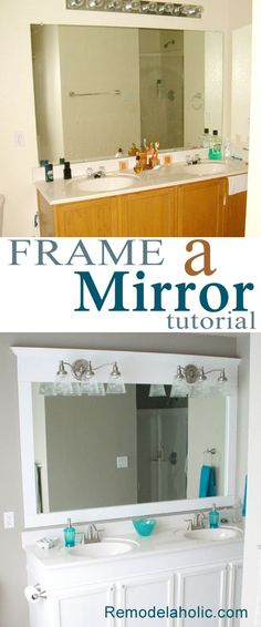 Frame a bathroom mirror tutorial #bathroom #DIY I have these same lights above my sink and have been trying to figure out how to replace them without buying a 300 dollar light fixture... this may be it...Frame a bathroom mirror tutorial #bathroom #DIY I've been dreaming of this!!