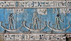 [EGYPT 29538] 'Decanal stars on boats in Hathor Temple at Dendera.' Starry gods are sailing on boats across the firmament on the astronomical ceiling in the outer hypostyle hall of the Hathor Temple at Dendera. The ceiling consists of seven separate strips but here we are looking at a detail of the lower register of the EASTERNMOST STRIP. The ram-headed god, the god with four ram heads and the ibis-headed god are the decanal stars 25, 24 and 23. In fact, the lo...