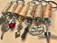 The Monday Shop by TheMondayShop Wine Cork Projects, Wine Cork Crafts, Handmade Keychains, Handmade Jewelry, Wine Cork Ornaments, Cork Art, Wine Corks, Key Chain, Tassels