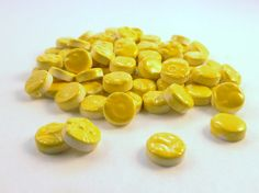 1/2inch Yellow circles ceramic mosaic tile 75 by mosaicmonkey, $8.25