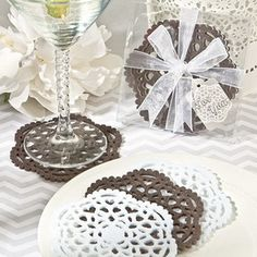 Lace-Like Felt Coaster Set Favors are great as vintage wedding favors. Felt coasters are one of the most practical vintage wedding favor ideas. Beach Wedding Favors, Personalized Wedding Favors, Personalized Gifts, Wedding Ideas, Wedding Reception, Wedding Fair, Wedding 2015, Wedding Themes, Chic Wedding