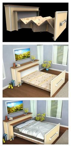 DIY Space Saving Bed Frame Design Free Plans Instructions: Space saving platform bed, built in roll in roll out bed, bed in the box, murphy bed instructions Space Saving Beds, Space Saving Furniture, Diy Furniture, Furniture Design, Roll Out Bed, Cama Murphy, Diy Bett, Murphy Bed Plans, Diy Murphy Bed
