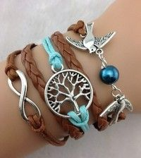 Infinity Brown and Blue Tree of life Pearl Birds Leather Bracelet in the Bracelets & Bangles category was sold for on 30 Jan at by SalesHub in Johannesburg Unique Bracelets, Cord Bracelets, Handmade Bracelets, Hipster Jewelry, Love Charms, Antique Silver, Infinity, Birds, Gift Ideas