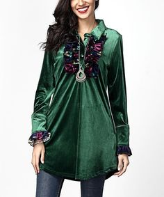 Emerald Velvet Button-Front Floral Ruffle Tunic
