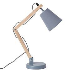 Timber Desk Lamp: Living & Co Desk Lamp Skyler Grey 45cm,Lighting