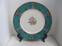 Vintage Early Lenox  Hand Painted Porcelain & Raised Enameled Service Plates (8)