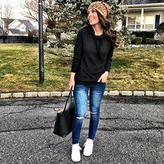 Casual weekend outfit, leopard beanie, black fleece hoodie, adidas superstar sneakers