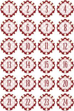 Adventskalenderzahlen - Adventskalender Zahlen Aufkleber Sticker 40mm - ein Designerstück von Papierbox bei DaWanda