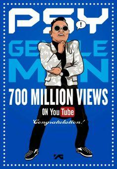 Psy's 'Gentleman' MV exceeds 700 million views on Youtube.  #psy #gentleman #700m #gentleman #kpopalbum #hangover #youtube #psyhangover