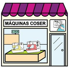 Pictogramas ARASAAC - Tienda de máquinas de coser. Montessori Materials, Illustrations, Spanish, Language, Teaching, Homeschooling, City, Social Studies, Pictogram