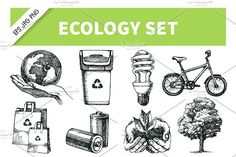 Hand Drawn Ecology Vector Set