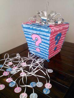 Piñatas~Gender Reveal Gift Box Pinata by SmashingFunCreations on Etsy. Gender Reveal Pinata, Gender Reveal Gifts, Gender Reveal Cupcakes, Gender Reveal Decorations, Baby Gender Reveal Party, Gender Party, Baby Tea, Baby Shower Fun, Reveal Parties