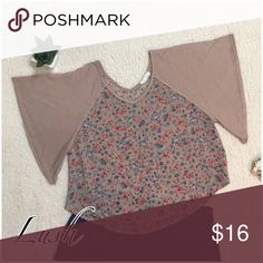 Lush Sheer Floral Blouse Very cute Floral piece with extended sleeve line. Sheer top area Lush Tops Blouses