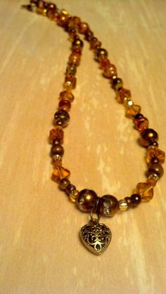 Gold and Amber 17 Inch Necklace with Gold by FlowerFelicity, $15.99