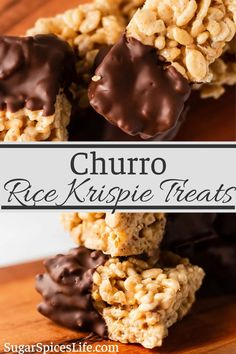 These Churro Rice Krispie Treats will bring a smile to any adult or child! Pecans and white chocolate mixed with cinnamon and rice krispies, then dipped in chocolate. A delicious dessert or snack.