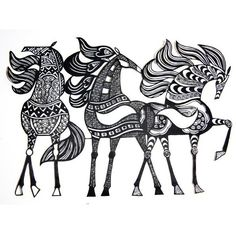 horses zentangle inspiration papercutdiecut on ETSY Doodles Zentangles, Zentangle Patterns, Scrapbooking Image, Eclectic Artwork, Grand Art, Tangle Art, Equine Art, Horse Art, Paper Cutting