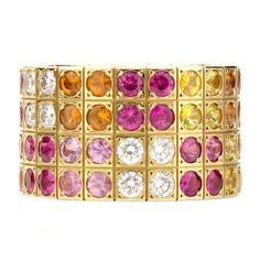 Cartier Multicolor Sapphire Diamond  Yellow Gold Four Row Ring. Sz 52 1