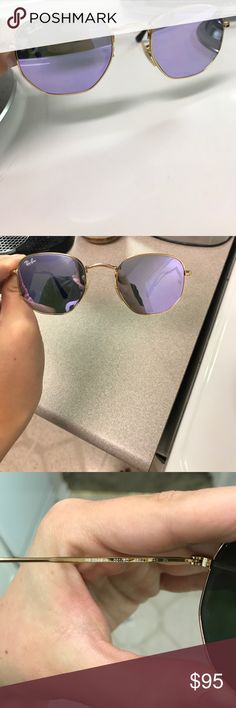 Ray-Ban Hexagonal I just purchased these 3 weeks ago on a whim. They are so fun but I don't love them on my face shape. Great condition! Purple reflective color. Ray-Ban Accessories Sunglasses