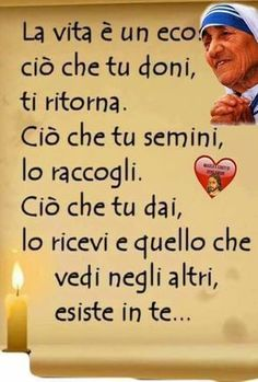è vero anche se noi non sempre ce ne ricordiamo Very Inspirational Quotes, Italian Quotes, Spiritual Thoughts, Magic Words, Mother Teresa, Wise Quotes, Life Lessons, Wise Words, Decir No