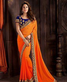 Buy Taking Orange Fashion Saree online at https://www.a1designerwear.com/taking-orange-fashion-sarees Price: $42.06 USD