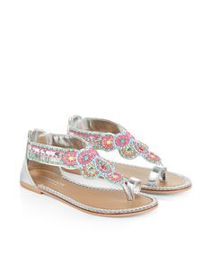 These scalloped sandals for girls are decorated with brightly-coloured beads and jewels, and finished with plaited trims. Zip fastenings on the heels make for easy on, easy off wear, while softly-cushioned footbeds provide a comfy fit.