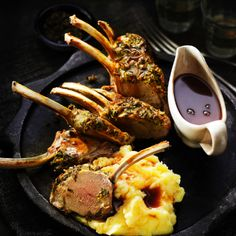 Herb-crusted rack of lamb with redcurrant gravy Lamb Recipes, Meat Recipes, Cooking Recipes, Recipies, Easter Lunch Recipes, Easy Dinner Recipes, Lamb Gravy, Crusted Rack Of Lamb, Lamb Dinner
