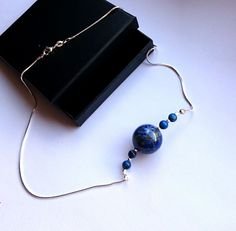 Lapis Lazuli Bead Necklace with Large Polished Pendant, sterling silver chain #Pendant