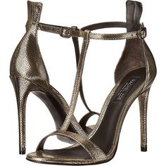 Rachel Zoe Tee (Dark Pewter Metallic Snake) High Heels found on Polyvore featuring shoes, sandals, metallic, metallic sandals, open toe shoes, high heel sandals, wrap sandals and high heel shoes