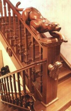 Banisters, Staircase Railings, Stairways, Interior Staircase, Grand Staircase, Wood Creations, Tree Carving, Wood Carving, Newel Posts