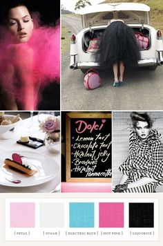Sweet and sassy palette: petal, sugar, electric blue, hot pink, licorice // 100 layer cake Colour Pallette, Colour Schemes, Color Combos, Color Patterns, Color Stories, Colour Story, Color Inspiration, Inspiration Boards, Fashion Inspiration