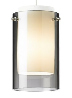 Translucent cylinder over a white case glass cylinder, highlighted with three metal details.