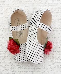 Baby Shoes Soft Soled Shoes Valentines Day White Black Red Polka Dots-Mina-Sizes 1-4. $32.00, via Etsy.