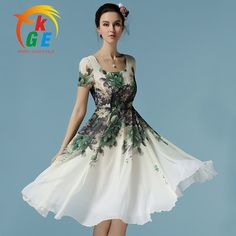 Cheap casual summer dress, Buy Quality summer dress 2016 directly from China summer dress Suppliers: White Casual Summer Dress 2016 Women Flower Print Dress Short Sleeve Ladies Knee Length Chiffon Dress Summer Dresses With Sleeves, Ladies Day Dresses, Casual Summer Dresses, Casual Dresses For Women, Dress Casual, Cheap Dresses, Short Sleeve Dresses, Chiffon Dresses, Junior Formal Dresses
