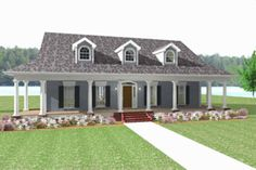 Loving the wrap around porch and the fact that the house is symmetrical! House Plan 44-182