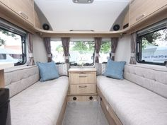 Coachman Vision 380 - Practical Caravan Camping Trailer For Sale, Window Fitting, Caravans For Sale, Small Campers, Van Living, Front Windows, Roof Light, Small Shelves, Lounge Areas