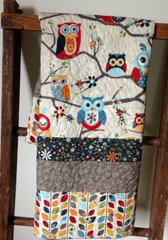Baby+Quilt+Modern+Scandinavian+Owls+on+Branches+Blue+by+CoolSpool,+$86.00