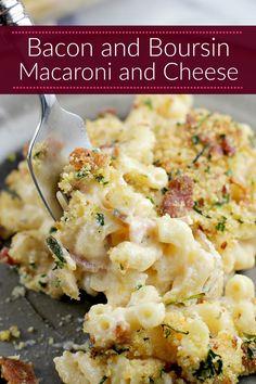 Bacon and Boursin united in a creamy macaroni and cheese. Bacon and Boursin Maca… Bacon and Boursin united in a creamy macaroni and cheese. Bacon and Boursin Macaroni and Cheese is the cheesy mac recipe dreams are made of. Creamy Macaroni And Cheese, Macaroni Cheese Recipes, Pasta Recipes, Dinner Recipes, Cooking Recipes, Cooking Bacon, Vegetarian Cooking, Bacon Recipes Main Dish, Recipe Of Macaroni