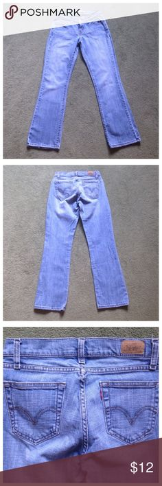 """Levi's 529 Size 4 Curvy Boot Cut Blue Jeans Excellent condition; Across waist - 14"""", Front rise - 8"""", Inseam - 32"""", Leg opening - 8.5""""; Cotton, Spandex Levi's Jeans Boot Cut"""