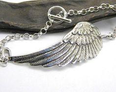 Ala grande plata pulsera Ángel ala pluma pulsera cadena, regalo para su pulsera de protección