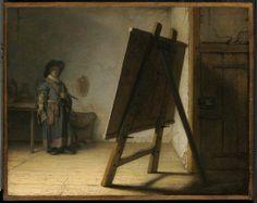Rembrandt Harmensz. van Rijn, Artist in his Studio, about 1628. Oil on panel.